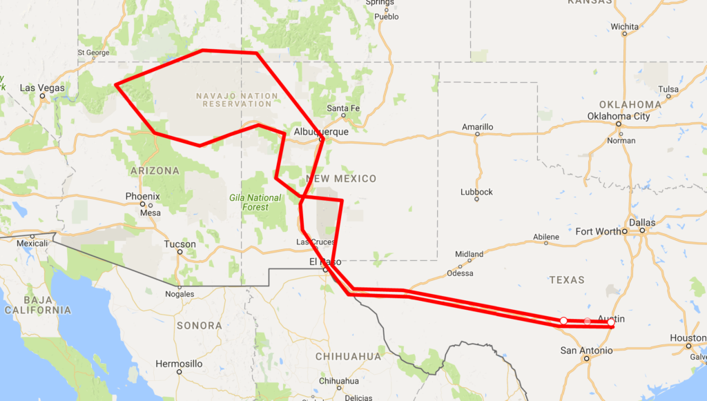 Southwest Adventure Route Map